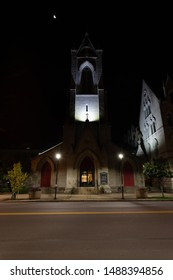 Scranton, PA, USA, August 24, 2019: Illustrative editorial image of St. Luke's Episcopal Church in downtown Scranton, and the Parish House to the right of the church.