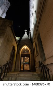 Scranton, PA, USA, August 24, 2019: Illustrative editorial image of St. Luke's Episcopal Church in downtown Scranton, the entry area between the Chrurch and the Parish house.