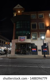 Scranton, PA, USA, August 24, 2019: Illustrative editorial image of the Rite Aid storefront at Scranton's Courthouse Square, which was the company's first store to open in 1962.