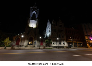 Scranton, PA, USA, August 24, 2019: Illustrative editorial image of St. Luke's Episcopal Church in downtown Scranton, and the Parish House to the right of the church, captured before sunrise.