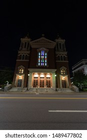 Scranton, PA, USA, August 24, 2019: Illustrative editorial image of St. Peters Cathedral in Downtown Scranton, Pennsylvania during early morning.