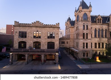 Scranton, PA, USA, August 24, 2019: Illustrative editorial image of Scranton Municipal Building and bridge attaching the Fire Headquarters, shot in the early morning hours before sunrise