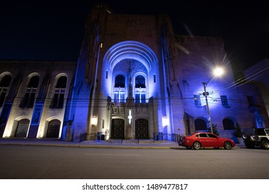 Scranton, PA, USA, August 24, 2019: Illustrative editorial image of Scranton Cultural Center at the Masonic Temple in downtown during early, pre-dawn hours.