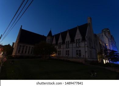 Scranton, PA, USA, August 24, 2019: Illustrative editorial image of Albright Memorial Building in Scranton, PA is the Scranton Public Library, shown here just before sunrise in August 2019.
