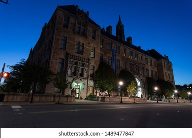 Scranton, PA, USA, August 24, 2019: Illustrative editorial image of The Lackawanna College building in downtown Scranton just before sunrise, August 2019.