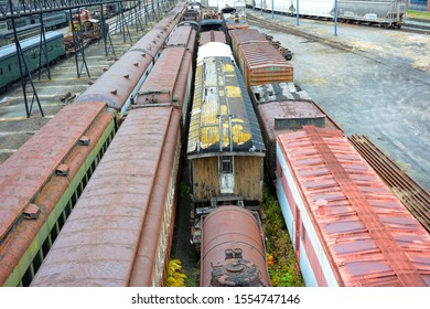 SCRANTON, PENNSYLVANIA - 30 OCT 2019: Old rail cars at Steamtown, a National Historic Site.