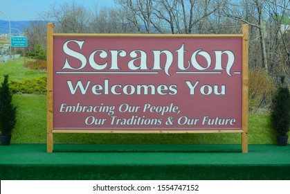 "SCRANTON, PENNSYLVANIA - 30 OCT 2019: The Scranton Welcome Sign, used in ""The Office"" was re-located to the Marketplace at Steamtown, to keep cars from stopping on the interstate for pictures."