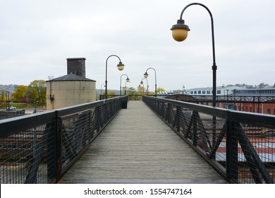SCRANTON, PENNSYLVANIA - 30 OCT 2019: Pedestrian Walkway connecting the Marketplace at Steamtown with the Steamtown Rail Yard, a National Historic Site. Looking from Mall to Rail Yard.