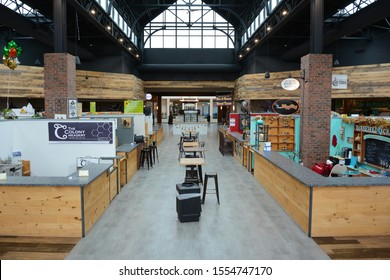 SCRANTON, PENNSYLVANIA - 30 OCT 2019: Scranton Public Market (SPM) inside the Marketplace at Steamtown replaces the food court with artisan vendors and unique local dining options.