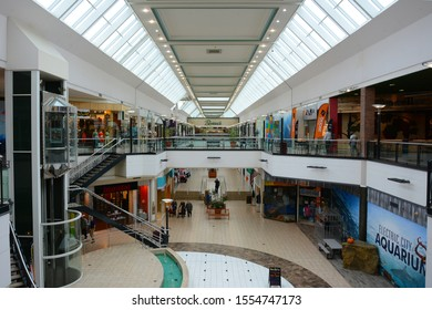 SCRANTON, PENNSYLVANIA - 30 OCT 2019: The Marketplace at Steamtown interior shot from the 2nd level.