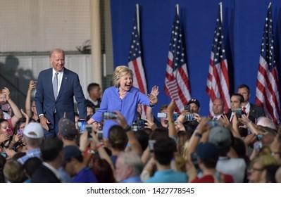 SCRANTON, PENNSYLVANIA/USA – AUGUST 15, 2016: Presidential candidate Hillary Clinton appears during a rally alongside Vice President Joe Biden on Aug. 15, 2016, in Scranton, Pennsylvania.