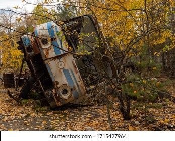 Scrap of a bus left after the Chernobyl disaster. Chernobyl Exclusion Zone, Ukraine.