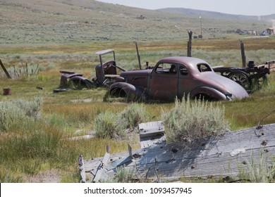 Scrap car at a scrap yard at a ghost town