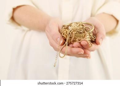 Scrap gold in hands