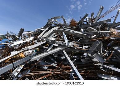 scrap iron and scrap metal, waste and garbage on a junkyard