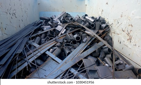 Scrap metal in the container