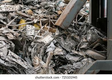 Scrap metal in a junkyard.