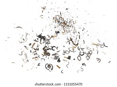Scrap metal shavings, pile isolated on white background, texture, top view