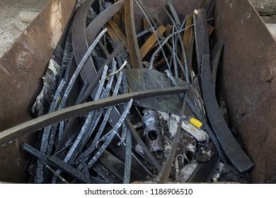 Scrap Steel of rusty metal scrap from construction. It is broken