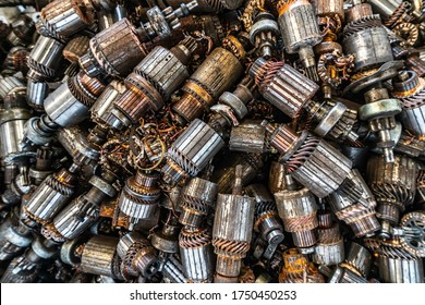scrap yard of car's start motor rotor for recycling