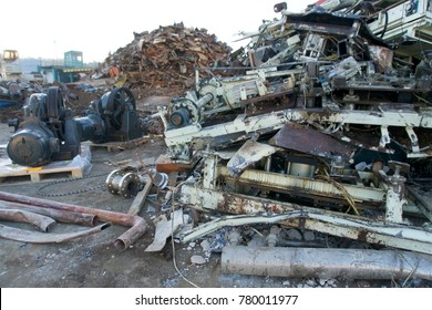 scrap yard metals ready for recycling  man made landscapes