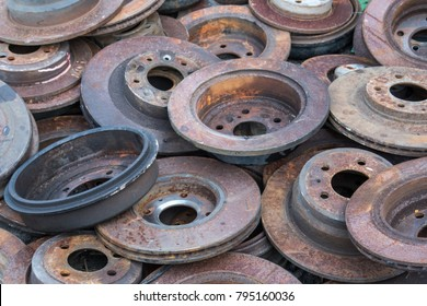 Scrap yard for recycle the engine and  automotive parts. Engine junkyard. That old, cracked engine block. Metal recycling yard. Scrap metal recycling yard