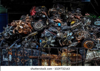Scrap yard for recycle the old car engine, engine junkyard