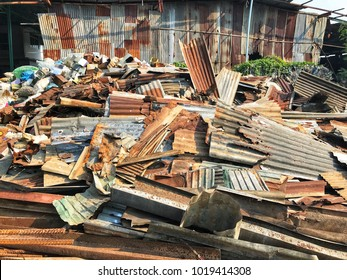 Scrap yard which is metal and plastic scrap are packed ready for selling to recycle factory plant.