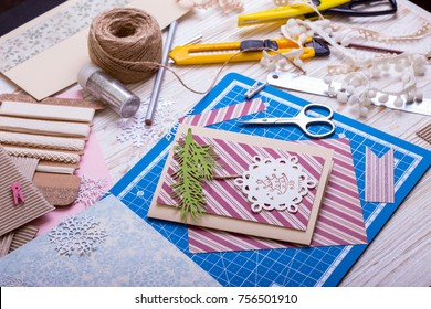scrapbook background. christmas card and tools with decoration