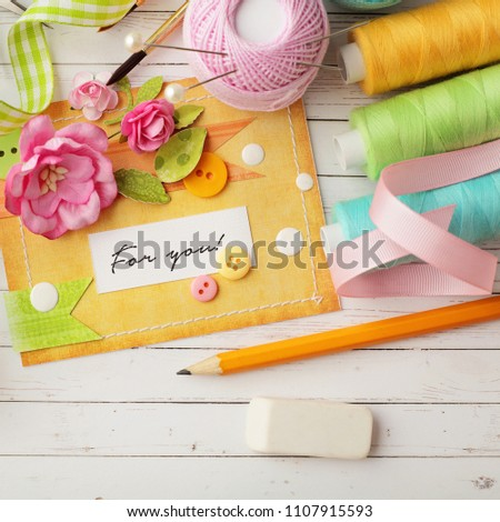Scrapbook Card Making Tools Creative Workspace Stock Photo Edit Now