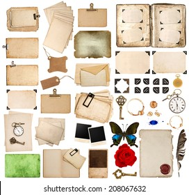 scrapbooking elements. vintage photo album and book pages, paper sheets, cards, corner and frames isolated on white background
