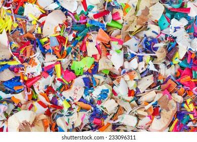 Scraps of colored pencils