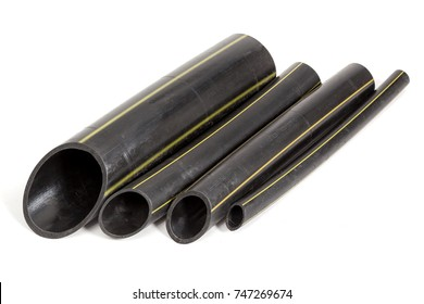 Scraps of plastic ethylene pipes