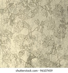 Scratch abstract background with floral beautiful ornament