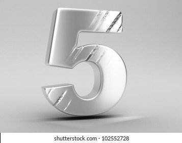 scratched glossy metal 3d number 5  WITH ALPHA CHANEL