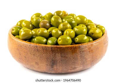 Scratched green olives. Turkish name; cizik yesil zeytin. Brined scratched green olives isolated on white background. Delicious geen olives.