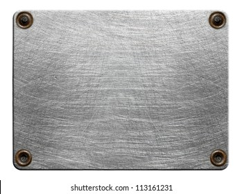 Scratched metal plate with rivets isolated on white background