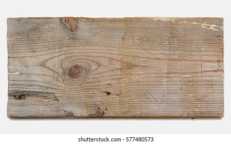 Scratched old wooden plank, isolated on white