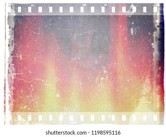 Scratched and stained film strip frame with copy space for text or image.
