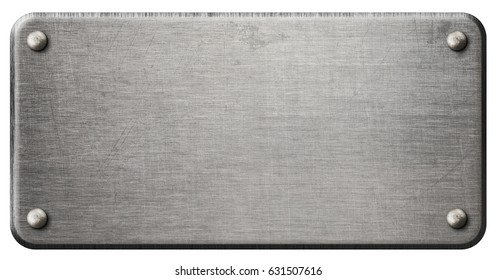 scratched steel metal plate isolated with clipping path