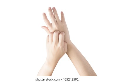 Scratching her hand in a woman isolated on white background. Clipping path on white background