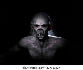 A scream in the dark. A classic vampire. High quality 3D rendered.