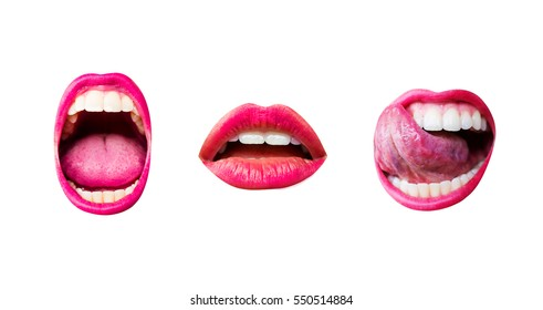 Scream, lips mouth, set of three sexy female lips with different emotions isolated on white background. Lips, tongue and teeth of a young girl with a pink lipstick. Female face desire