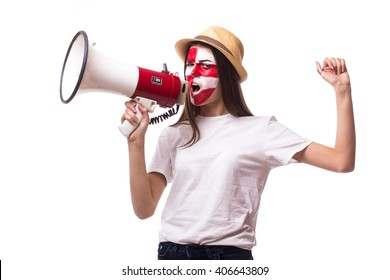 Scream on megaphone Croatian football fan in game supporting of Croatia national team on white background. European football fans concept.
