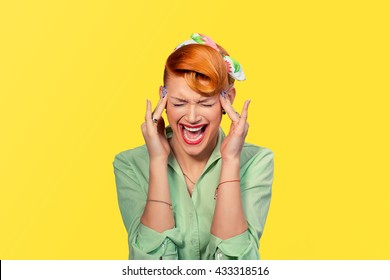 Scream stress. Closeup portrait angry woman screaming wide open mouth hysterical isolated yellow background. Negative human emotion face expression Conflict confrontation concept Too many things to do