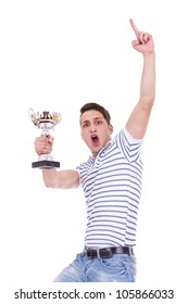 scream of victory of a young casual man winning a trophy, on white background