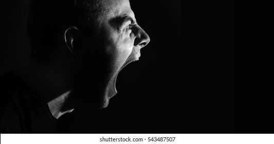 screaming angry aggressive militant guy, man, black and white portrait, evil