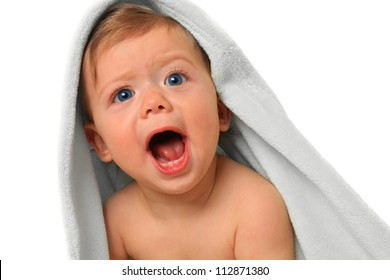 Screaming baby boy, ten months old.