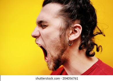 screaming bearded man, profile