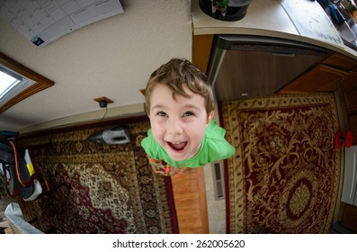 Screaming boy at the kitchen